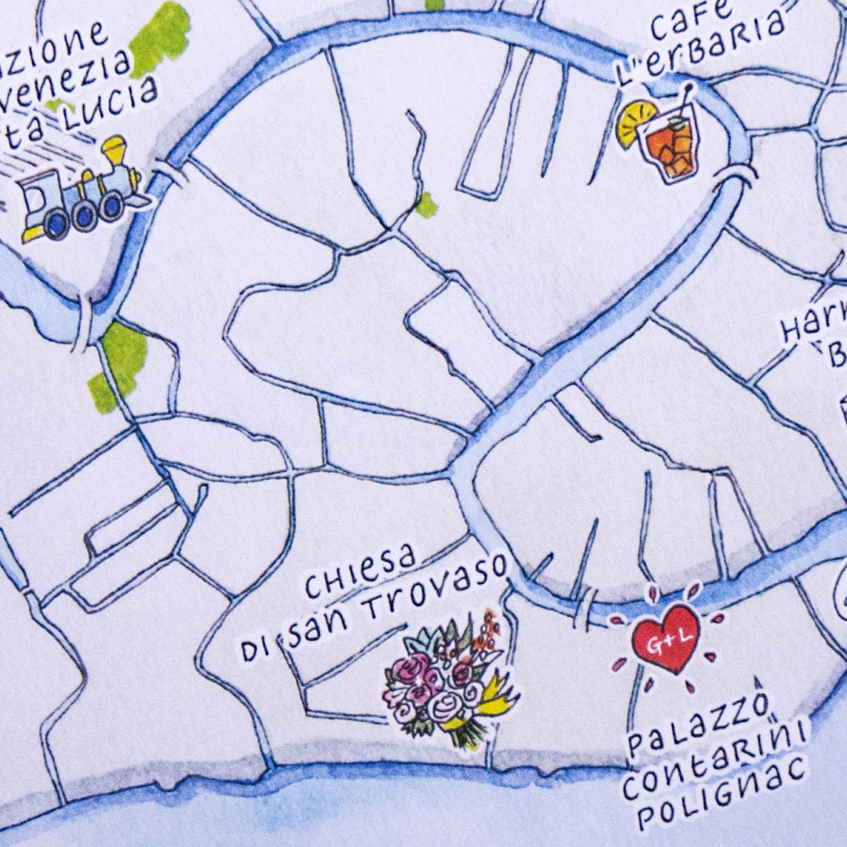 Calligrafia e illustrazioni per la creazioni di mappe originali per eventi e matrimoni